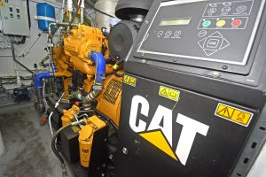 Caterpillar C7.1-based gensets are mounted on the port and starboard tank tops.