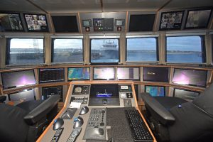 An alarm monitoring and control system custom-built by Marble Automation of Urk is located on the central console between the NorSap skipper's seats.