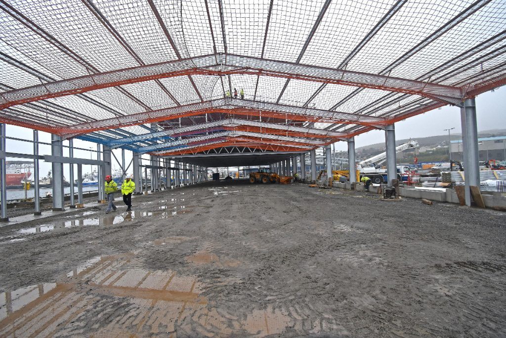 … and internal views, taken at the end of October, showing the scale of the new fishmarket building, that is scheduled for completion in 15 months.