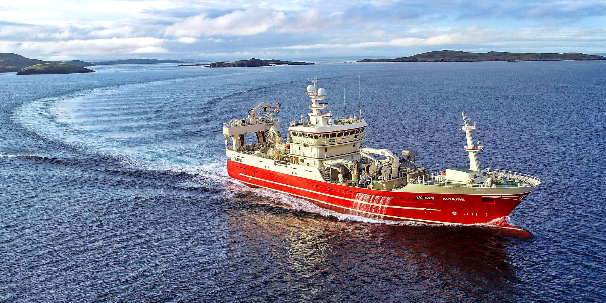 The pelagic vessel Altaire LK 429 turning away from Shetland to fish North Sea herring. (Ivan Reid)