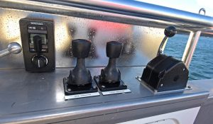 Controls for the hauler, steering, bow/stern thrusters and engine, mounted on the gunwale rail abaft the hauling station, are well-protected.