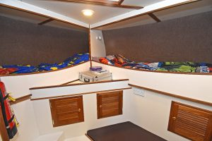 Two of the three berths arranged in the accommodation cabin...
