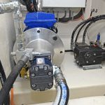 … and runs a three-phase electric motor that drives the hydraulic pump for the Hydroslave pot hauler. The hydraulically operated seawater pressure-washer is to the right.