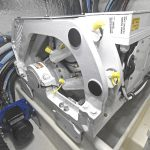 The compact Seakeeper 6 gyro stabilisation unit is fitted to starboard in the engineroom…