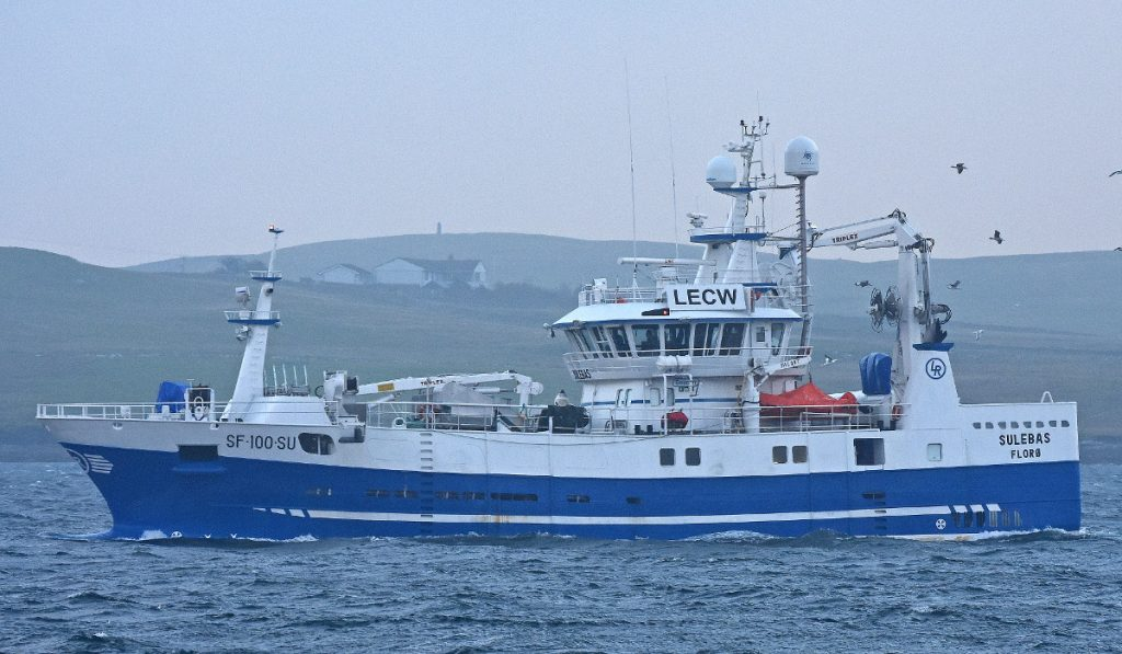 The Norwegian purse-seiner Sulebas enters Lerwick harbour ahead of a storm force 10 southerly gale.