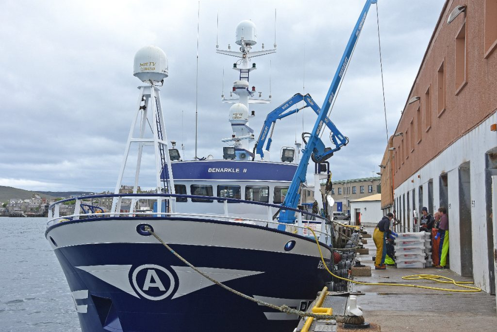 The visiting Peterhead twin-rig trawler Benarkle II landing whitefish into Lerwick market.
