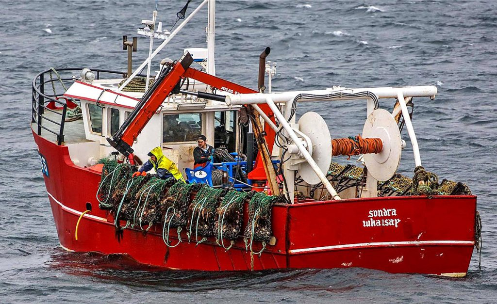 Tipping the dredges on the Whalsay scalloper Sondra. (Photo: Ivan Reid)
