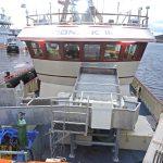 Pelagic catch-handling arrangements amidships on the full-length shelterdeck.