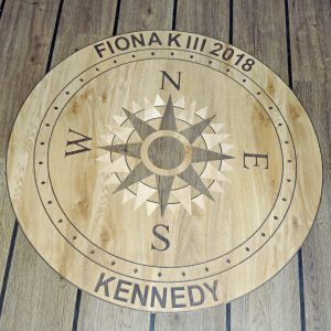 … in which a distinctive Fiona K III compass rose is inlaid in the modern flooring.