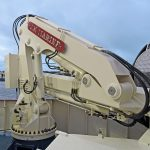 … and the telescopic folding knuckle-boom crane, fitted with a two-speed winch.