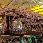 Work in progress on the 20.22m twin-rig trawler that Mooney Boats is building for a Fraserburgh-based partnership.