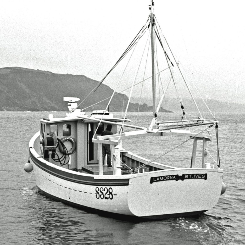 The 12m Lamorna SS 28 was launched from John Moore's boatyard at Mevagissey in 1986.