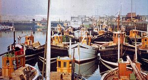 Fraserburgh yawls berthed in the Balaclava basin in the early 1960s.