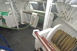 Three 18/24t split trawl winches are fitted in a dedicated room forward…