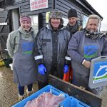 The team, from left to right – Fiona Sparks (sales operative), Johnny French (fisherman/supplier/filleter), Tim Cook (fisherman/supplier/filleter/tea-maker), Fran French (sales operative and everything else).