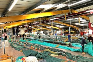 Three dual-purpose prawn trawls and hopper single trawls in production for Irish skippers in Jackson Trawls' expansive net loft at Peterhead.