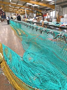 The Jackson Trawls team making a seine net with small mesh guard for targeting groundfish.