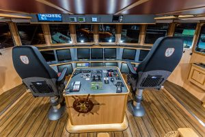 The wheelhouse interior on the 27.46m trawler Fiona K III that Mooney Boats delivered to Tralee skipper Tom Kennedy three months ago.