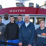 happy skipper and crew following successful fishing trials. Left to right: skipper James West, Isaac Blankson, Jason Brown, Stephen West, James West Snr and Reece Taylor.