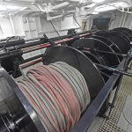 Faithlie Trawl supplied the 275 fathoms of 20mm-diameter covered Dyneema warp, spooled on the three-drum trawl winch manufactured by Macduff Shipyards…