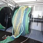 The outer sections of the split net drums are wider to accommodate the bulkier prawn hopper trawls.