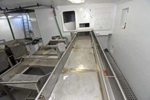 The selection table extends down the starboard side of the fully-lined catch-handling deck.