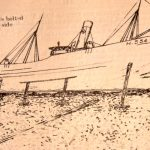 Cecil Rhodes ran ashore on the west coast of Iceland in 1905 and was wrecked. This was not the first time Cecil Rhodes had run aground – this sketch shows the vessel grounded at Thorsminde, Jutland, Denmark. Date unknown. (Photos: Alec Gill)