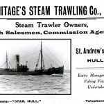 Princess Victoria is pictured in an advertisement by trawler owner Armitage's Steam Trawling Co Ltd, offering its services as trawler manager, fish salesman and commission agent.