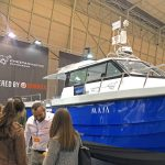 An 11.2m Cheetah catamaran on Cheetah Marine's stand at the Lisbon Boat Show in February 2019. Participating in such shows plays an important part in promoting the Cheetah range.