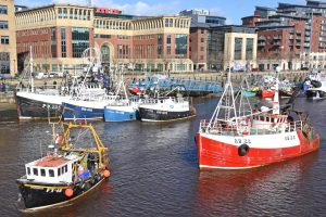 Trawlers from North Shields moor up on Newcastle quayside at midday on Friday 15 March in support of FFL's event to highlight the 'death sentence' represented by the current Brexit betrayal.