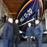 Nick O'Neill with the crew of Selsey's Shannon-class lifeboat Denise and Eric – Michael Cowling, Phil Pitham and Martin Rudwick.