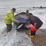 Mike Harvey helps Selsey fisherman Dave Robinson bring his tender ashore, after being at sea for 10 hours on his Holton 24 Betty Peerley…