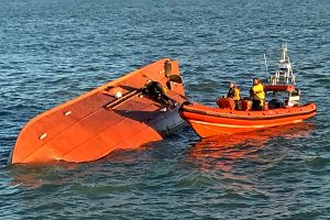 The upturned hull of the Belgian beamer Assanat Z 582 that capsized off Ramsgate two years ago – Nick still remains in contact with the sole survivor.