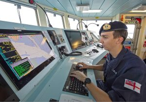 Sub-Lieutenant Ian Copland planning to leave the mooring using Forth's WECDIS system.