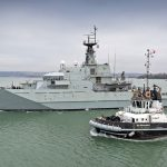 The Batch 1 River-class offshore patrol vessel HMS Mersey P 283 leaving HMNB Portsmouth for operational duties…