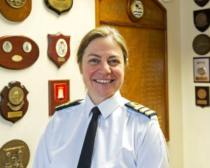 Commander of the Fishery Protection Squadron, Commander Sarah Oakley.