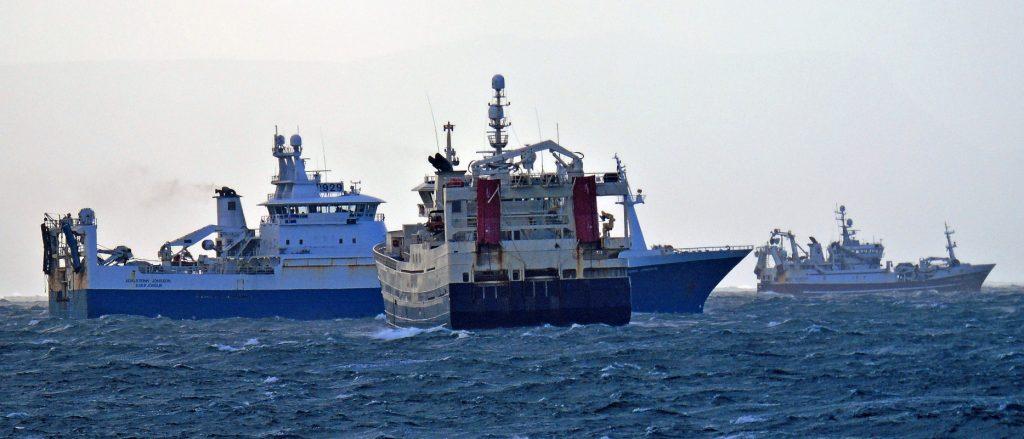 Adalsteinn Jonsson, Beitir and Havskjer dodging winds in excess of 50 knots in Inver Bay.