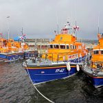 Lifeboats from Longhope, Stromness, Thurso and Wick moored at Longhope pier.