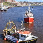 Charmel, White Pearl, Mary Manson and Arlanda moored on Newcastle Quayside ahead of the rest of the flotilla.