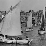 Bridlington sailing cobles, leaving harbour to take visitors for a sail in the bay. (Photos: Paul L Arro and postcard collection of Paul L Arro)