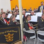 Musical director Stig Maersk and the City of Hull Brass Band, ready to perform on the pontoon alongside Kirkella.