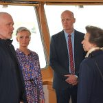HRH The Princess Royal talks with skippers Sigurbjoün Sigurlsson and Bjössi Reimars and their partners in Kirkella's wheelhouse…