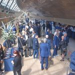 UK Fisheries guests gathered under the Cutty Sark, after returning ashore from the naming ceremony.