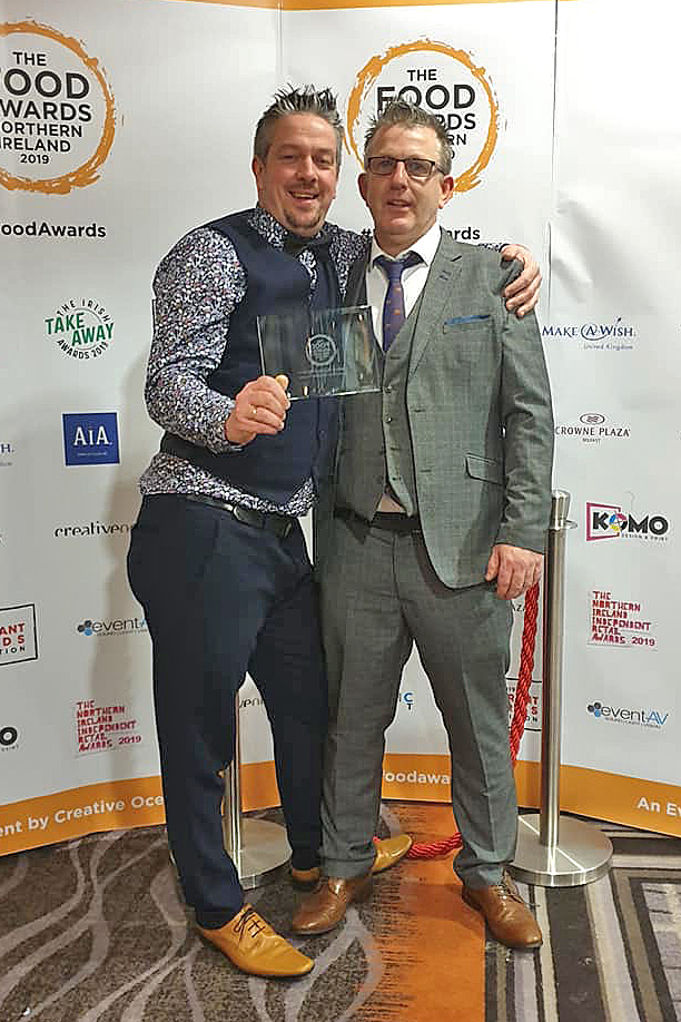 … and with assistant Paddy McNeill at the awards ceremony, after being presented with the Cookery School of the Year award.