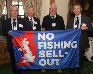 NFFO team left-right: Tony Delahunty, Arnold Locker, Ned Clark and new chairman-elect Andrew Locker send a clear message to the politicians.