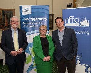 North meets south: SFF chief Bertie Armstrong with East Cornwall MP Sheryll Murray and Cornish FPO leader Paul Trebilcock.