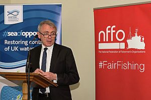 New fisheries minister Robert Goodwill made his introductory speech to the industry at the event.