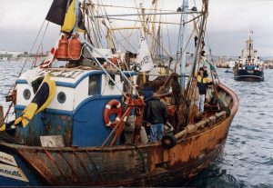 This Plymouth protest took place when John Selwyn Gummer MP became the fisheries minister. Boats from far and wide often took part in the protests.