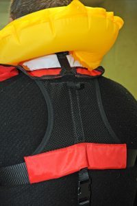 A mesh panel is fitted to pull the rear further away from the neck, and Mullion has widened the top of the dumb-bell jacket, and fitted a neoprene-padded section for comfort.