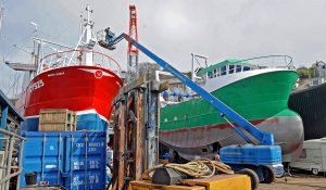 The 15m scalloper White Eagle shortly before being launched by C Toms & Son, alongside the 12m scalloper/trawler which will join the South West fleet soon as Southern Spirit.